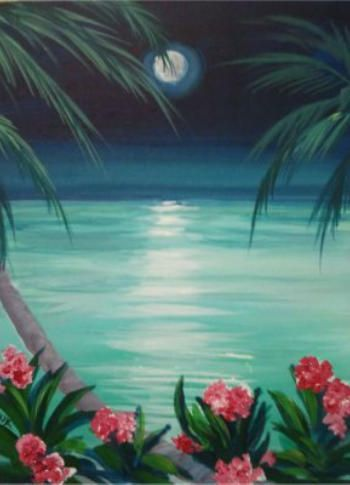 Paradise From Merlot2masterpiece Shows Really Good Palm Trees And Tropical Flowers Painting With A Twist In 2018 Art Paint Party
