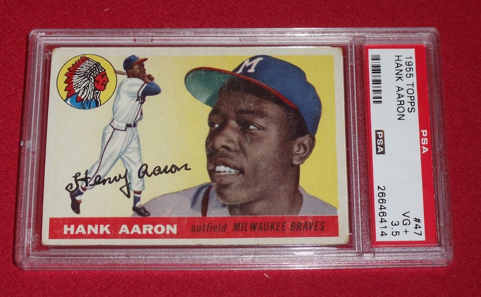 1955 Topps Hank Aaron PSA 3.5 VG #47 Crease Free Centered Check out ...