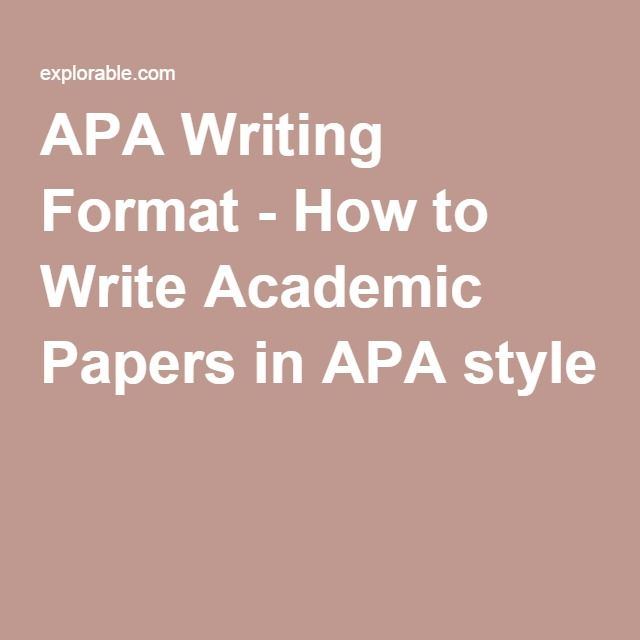 APA Writing Format - How to Write Academic Papers in APA style - how to write an official report format