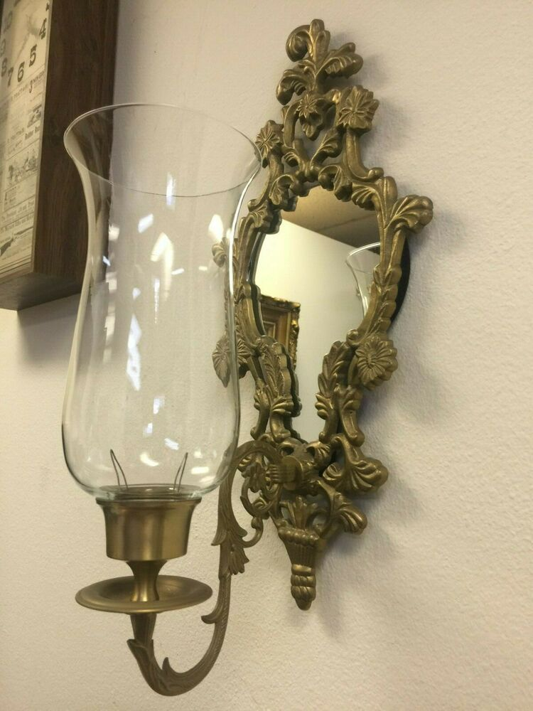Vintage Brass Frame Mirror Candle Holder Wall Sconce, 20 ...