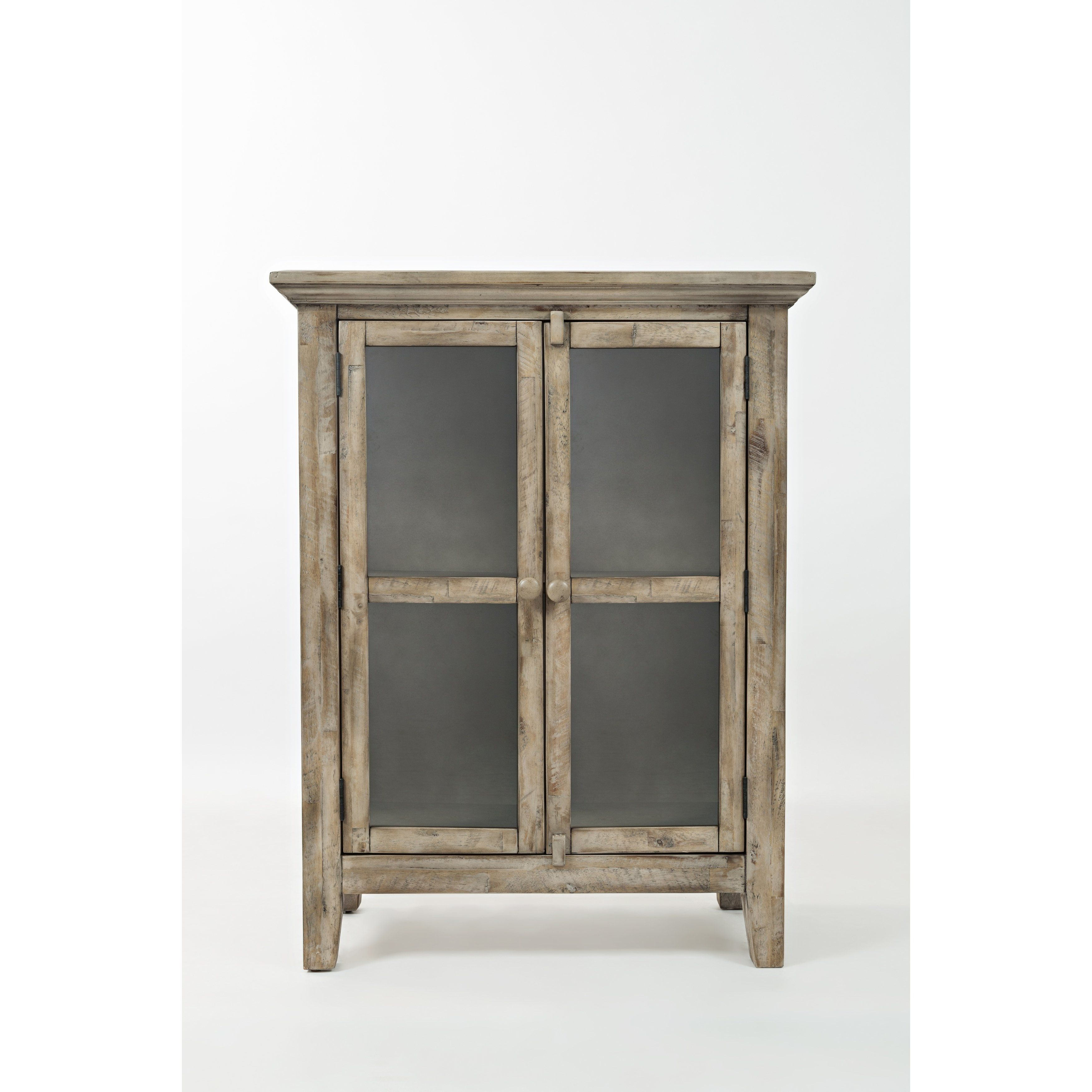 Best Wooden Accent Cabinet With 2 Glass Doors Weathered Gray 400 x 300