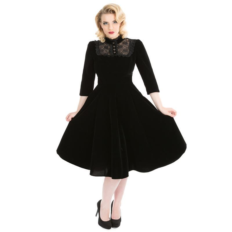 Hell Bunny Black Red Long Vintage Swing Plus Size Retro 50s Rosa Rossa Coat
