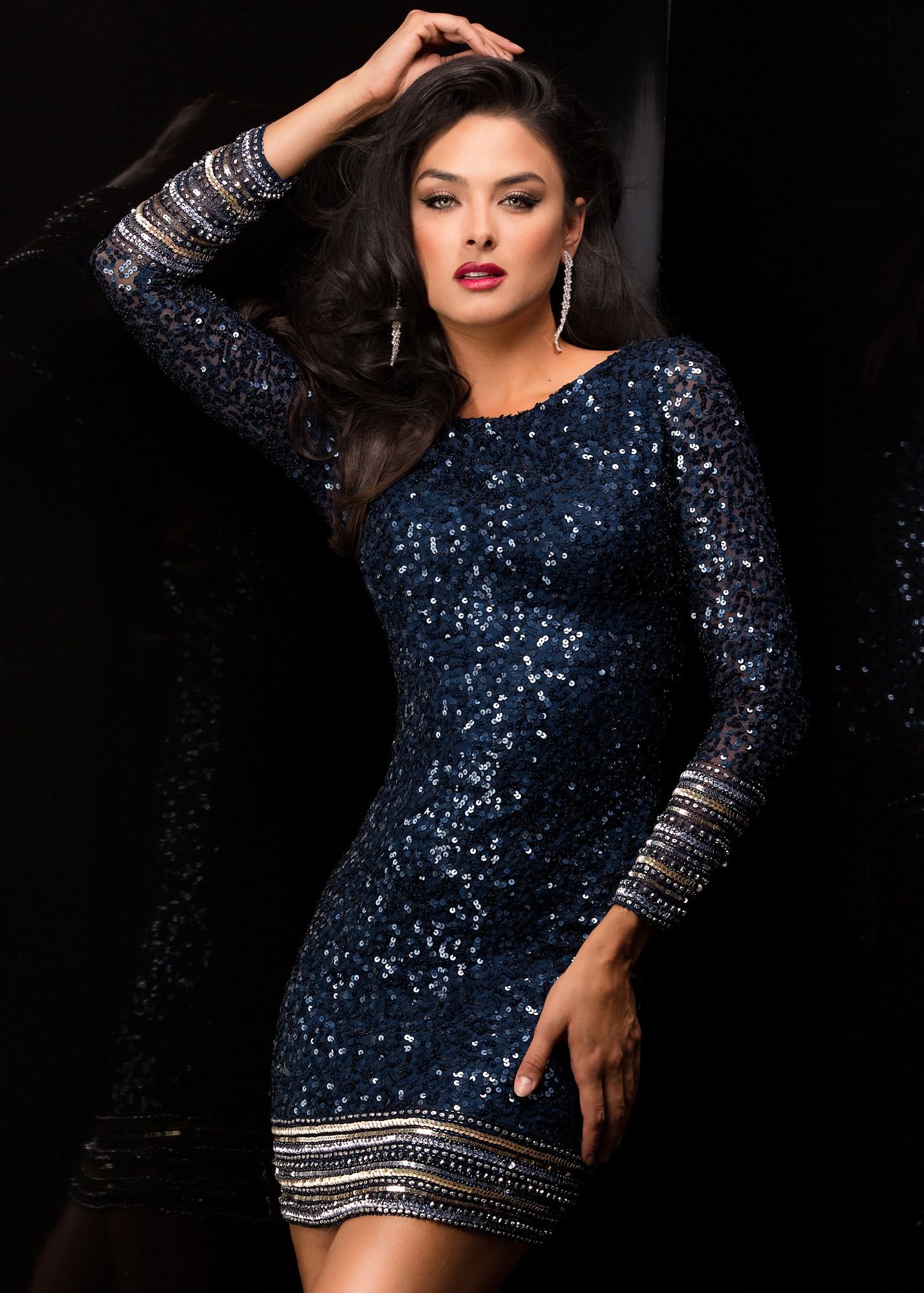 ac32e019ec1 Scala 48356 - Navy Long Sleeve Sequin Short Homecoming Dresses Online