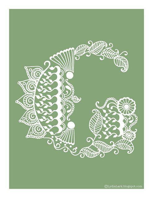 Henna Tattoo Alphabet: Henna Letter G Via LydiaLark