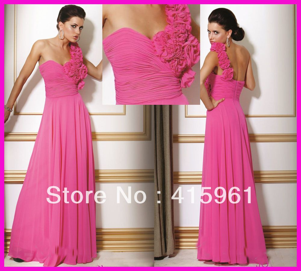 Unique-Hot-Pink-One-Shoulder-Chiffon-Flowers-Bridesmaid-Dresses ...