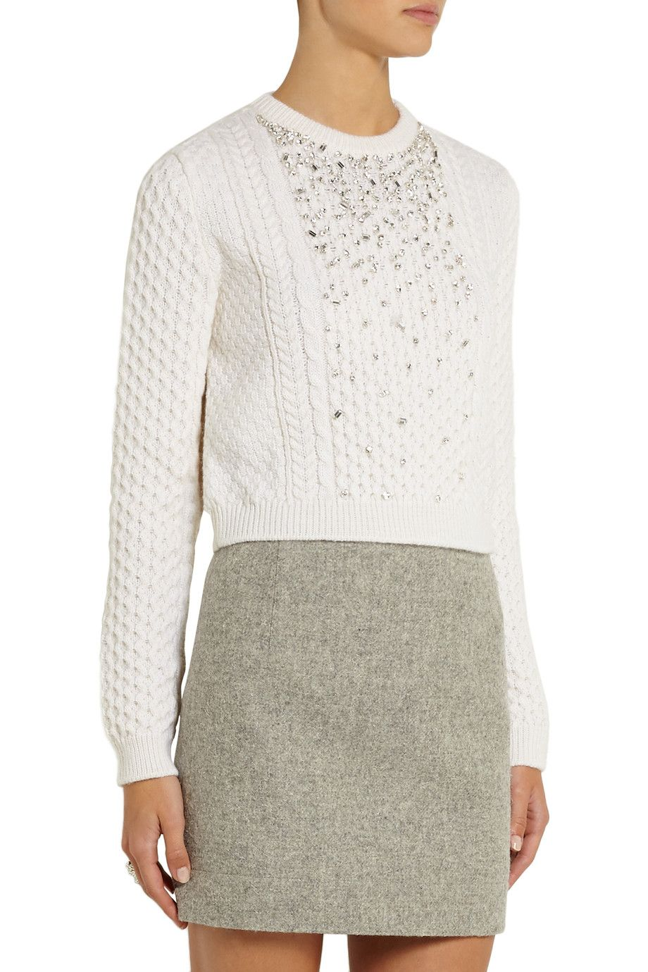 Miu MiuCrystal-embellished cable-knit sweaterfront