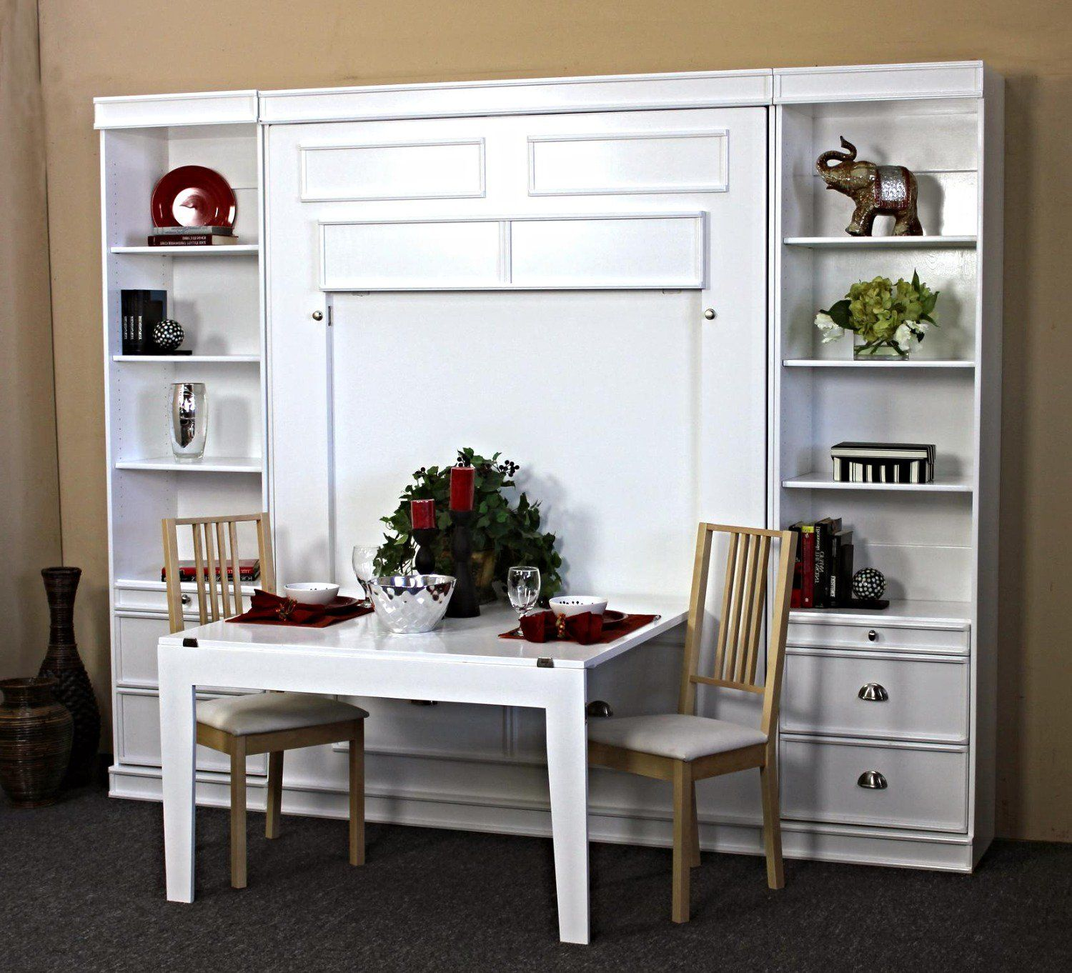 bristol birch vertical wall bed w table by wallbeds on wall beds id=33176