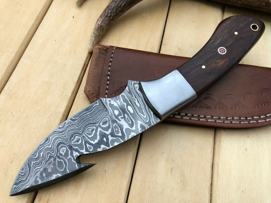 Knives Zone Custom Handmade Damascus Steel 9 Inch Long Gut Hook Hunting Skinning Knife Damascus Steel Knife Skinning Knife