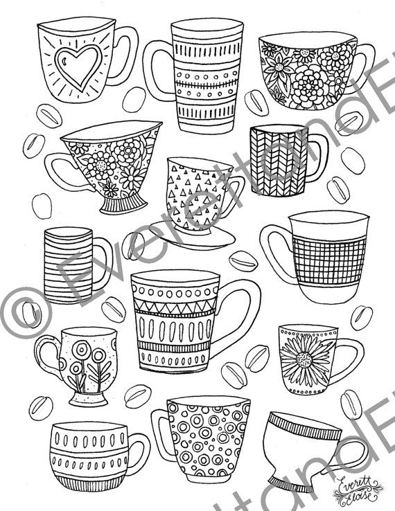 Digital Download Mugs and Beans Coloring Page by