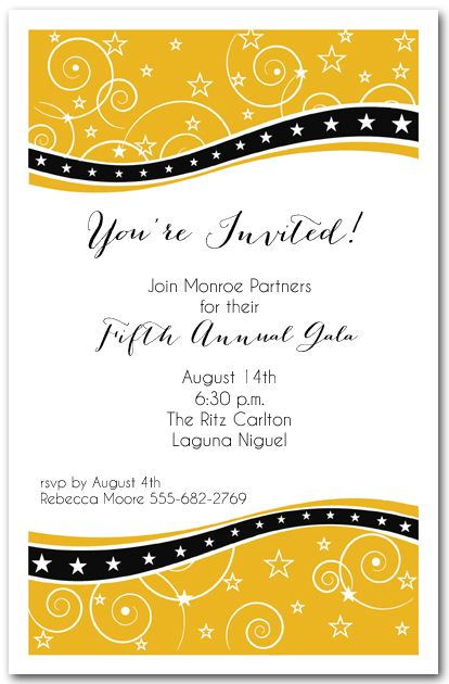 Swirls And Stars On Gold Business Invitation   Corporate Invitation Text  Corporate Invitation Text