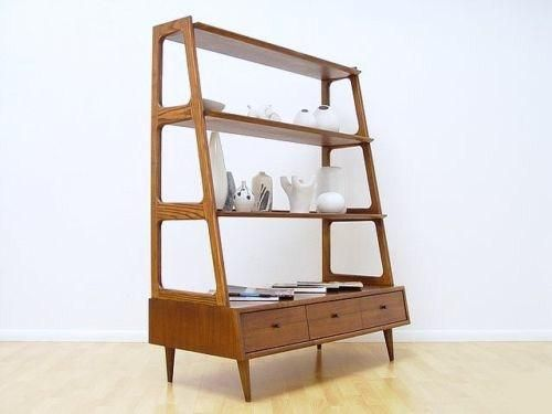 mid century danish modern shelf unit room divider solid wood more