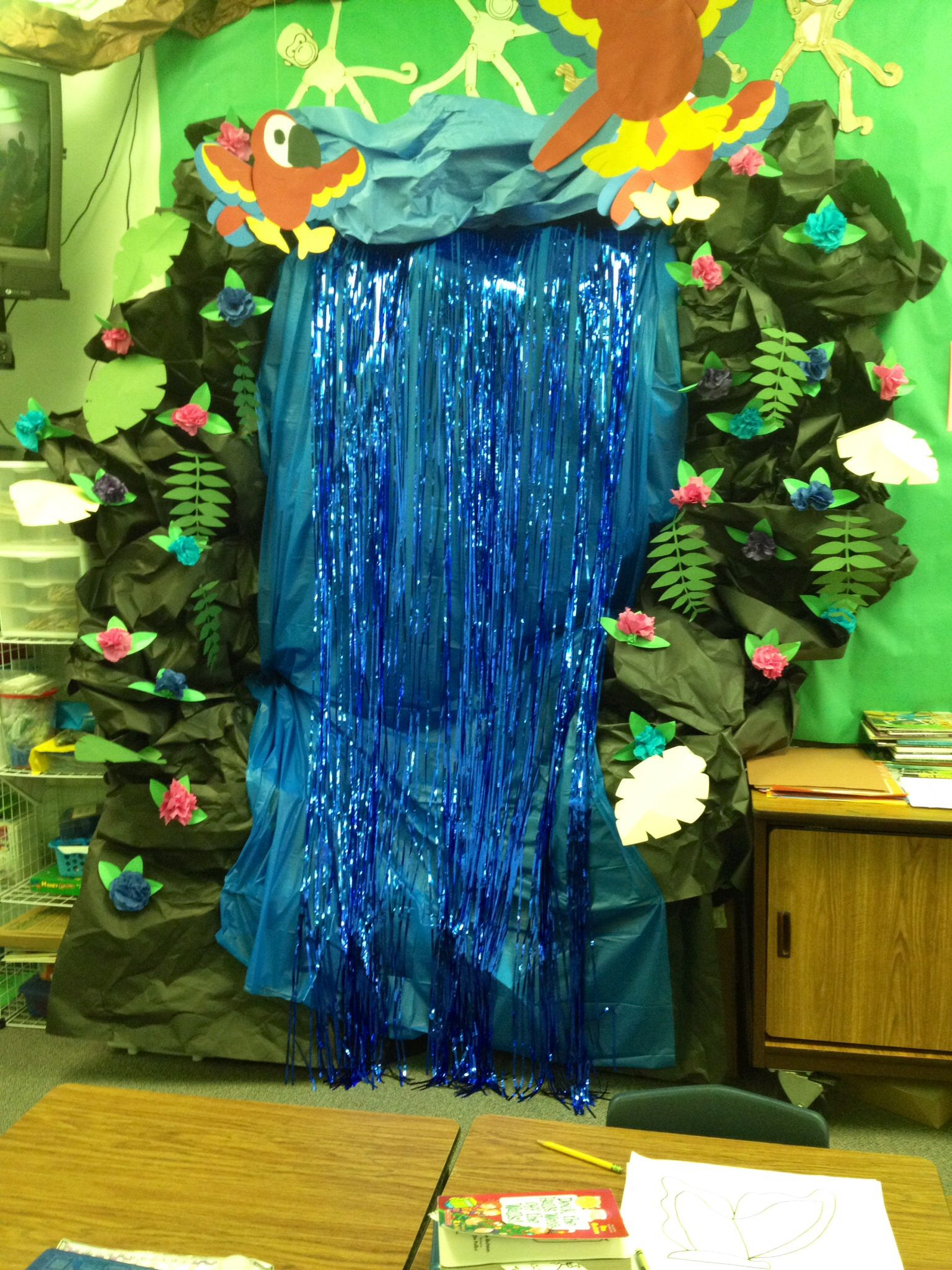 Classroom Waterfall Ideas ~ A waterfall made from butcher paper crafts pinterest