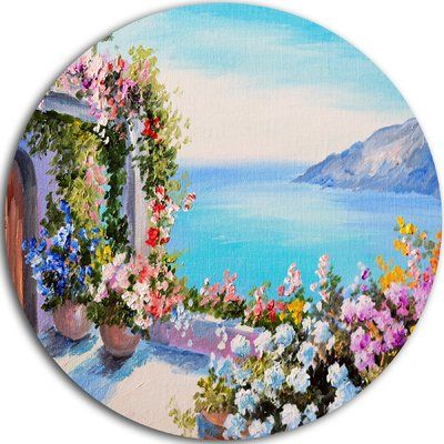 "DesignArt 'Sea and Flowers' Painting Print on Metal Size: 23"" H x 23"" W x 1"" D"