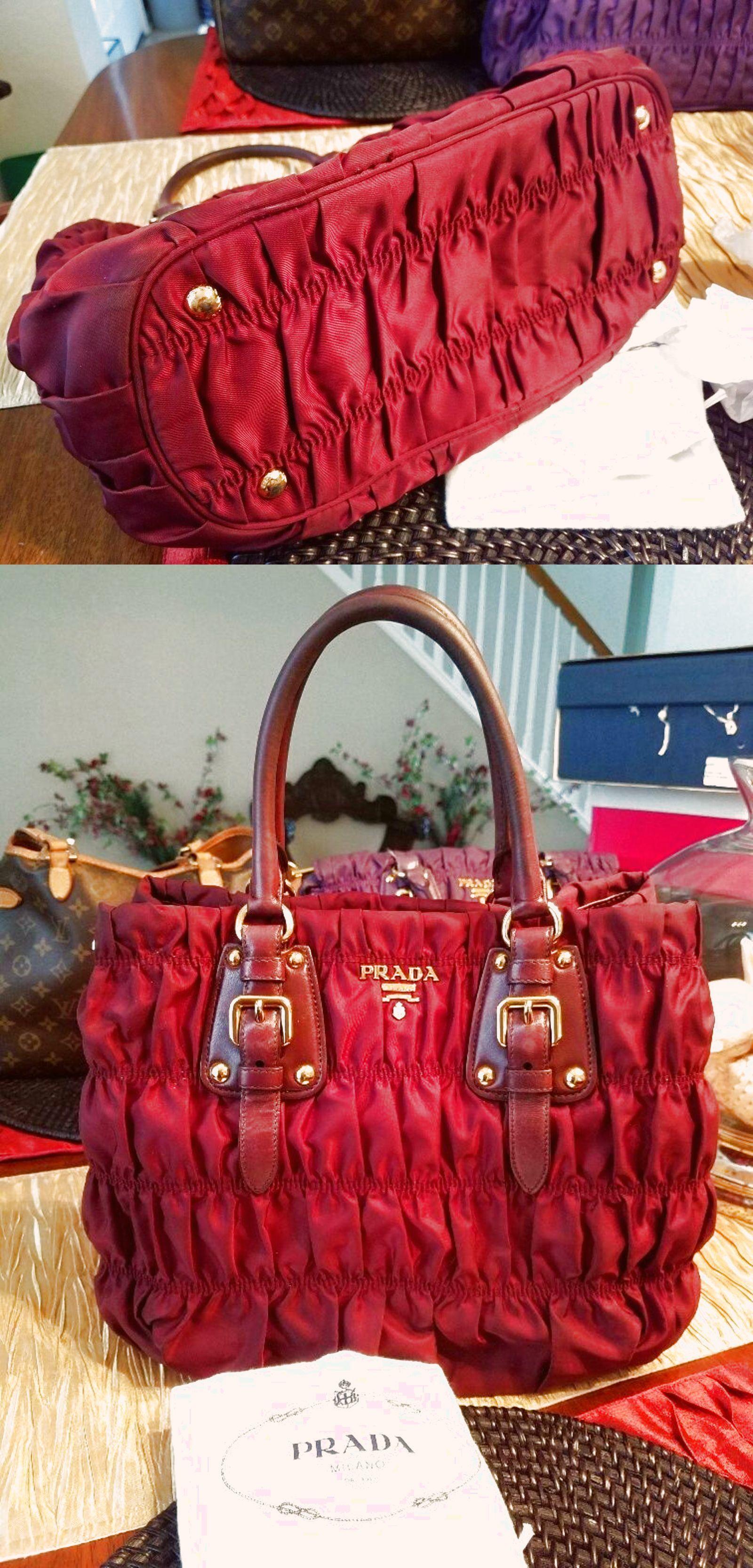 89465c3e08ae Authentic Prada Burgundy Nylon/Leather Tessuto Gaufre Handbag $429.0 ...