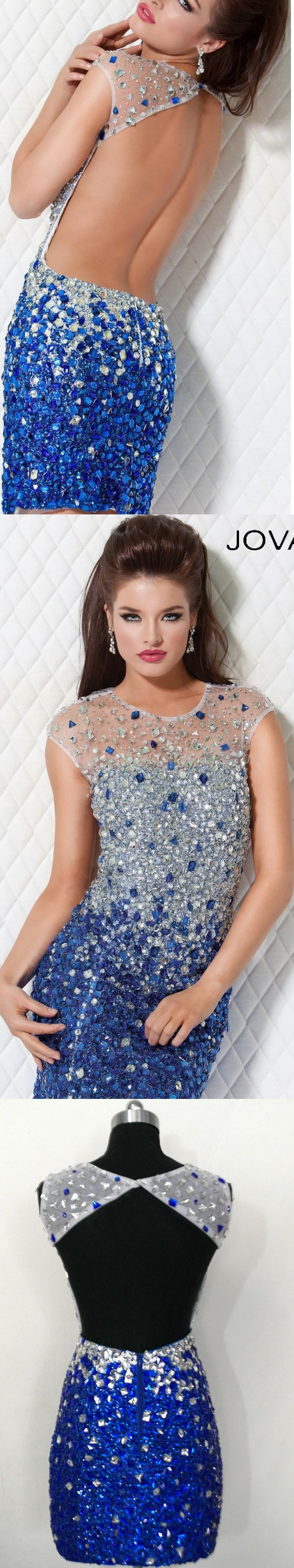 New style fashion luxury blue silvery cap sleeve backless crystals