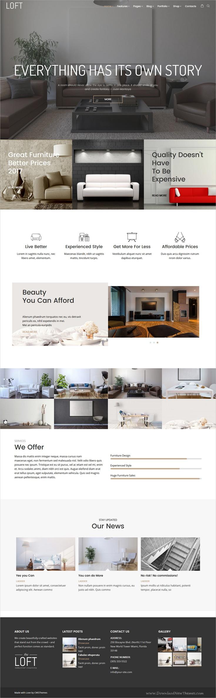 Loft - Interior Design WordPress Theme | Pinterest | Loft interior ...