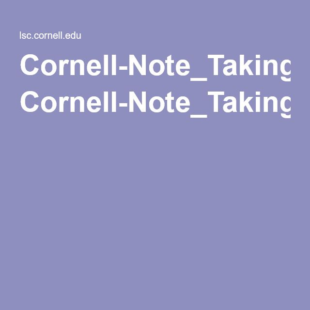 Cornell-Note_Taking-Systempdf Cornell Notes Pinterest - cornell note pdf