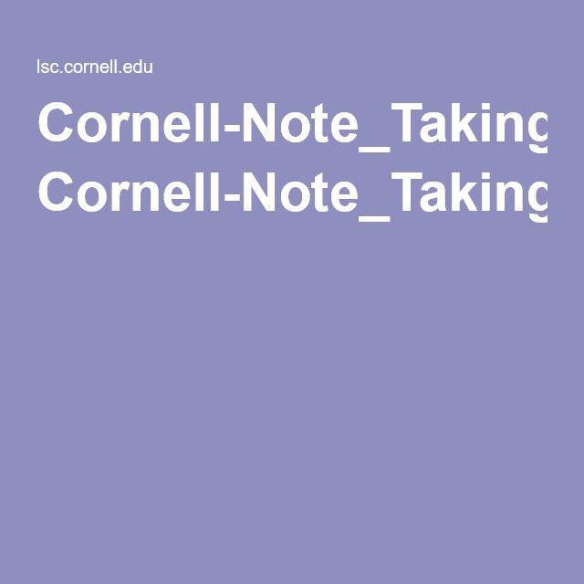CornellNoteTakingSystemPdf  Cornell Notes