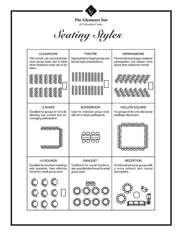 Seating Styles Catering  Event Planning