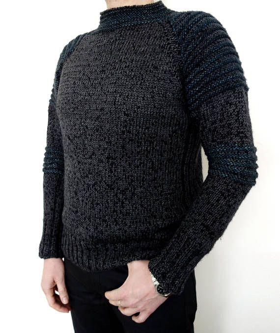 Men Sweater Knitting Pattern Jasper Sweater Raglan Sleeves