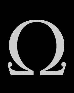 Letra griega mayúscula Ω omega de la tipografía: Wachinanga. #Typography #Freefont #Tipógrafo #deFharo #Fonts #Serif #Tipografia #Mayusculas #Uppercase #Letters #Letras #Design