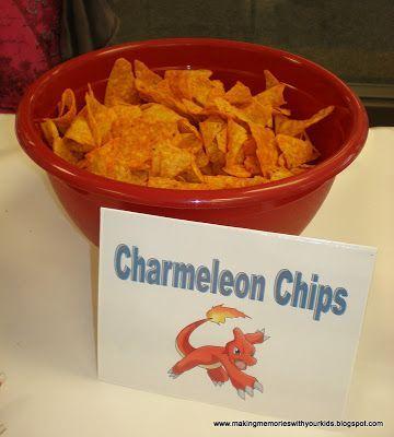 Pokemon Geburtstag - Glurak-Chips für die Party