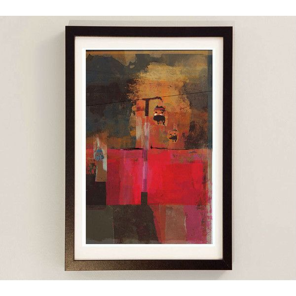 Mixed Media Wall Art by Award Winning Artist Red Wall Decor, Night