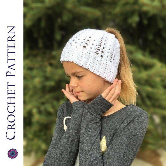 Spring Ponytail Hat CROCHET PATTERN - Messy Bun Hat Pattern - Bun Beanie Crochet Pattern - Ponytail Beanie Pattern - Easter Hat Pattern #messybunhat