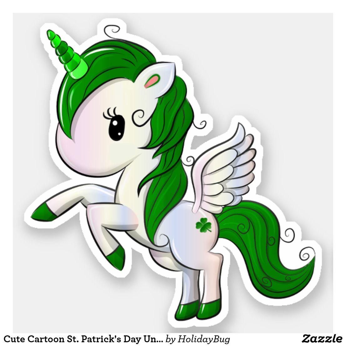 Cute Cartoon St Patrick S Day Unicorn Pegasus Sticker Zazzle Com Saint Patricks Day Art St Patricks Day Wallpaper St Patricks Crafts