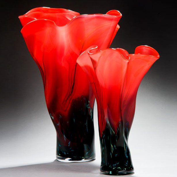 Black And Red Vases By Peter Layton Glassart Artglass Artwork
