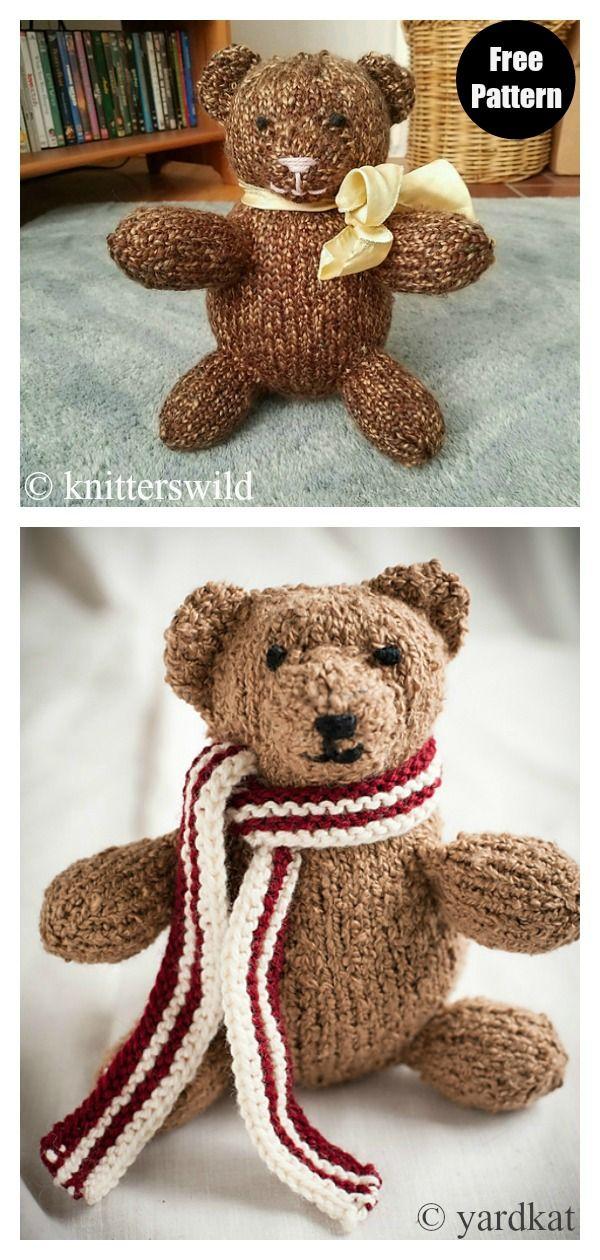 Easy Teddy Bear Free Knitting Pattern in 2020 | Teddy bear ...
