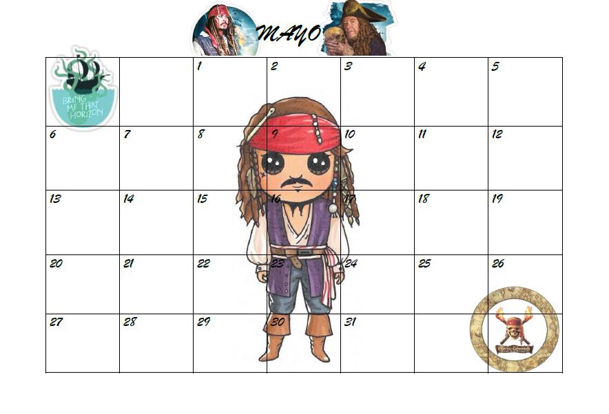 Calendario 2018 2019.Panificador Agenda Calendario Mensual Mayo Piratas Del