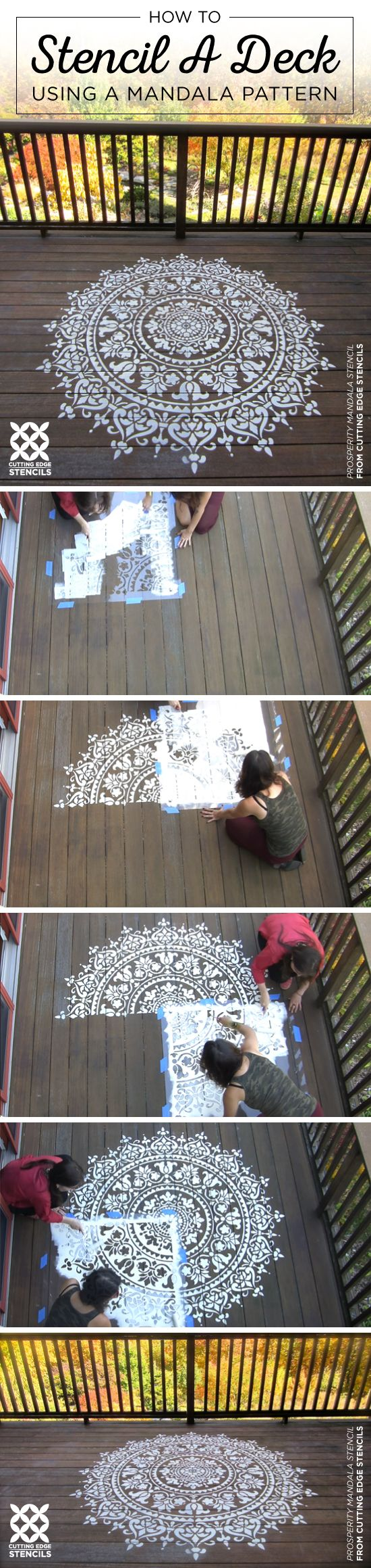 Learn how to stencil wooden wall art using the prosperity mandala cutting edge stencils shares how to stencil a deck using a large prosperity mandala stencil pattern amipublicfo Images