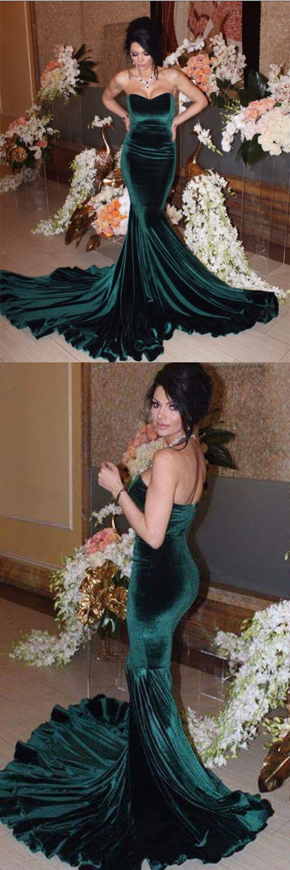 Sexy strapless bodice corset velvet evening gowns long mermaid prom