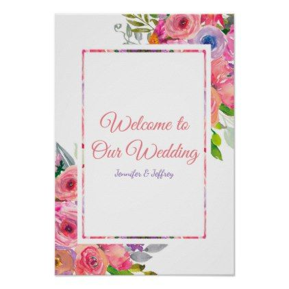 Spring Floral Flowers Pink Country Wedding Poster Wedding posters