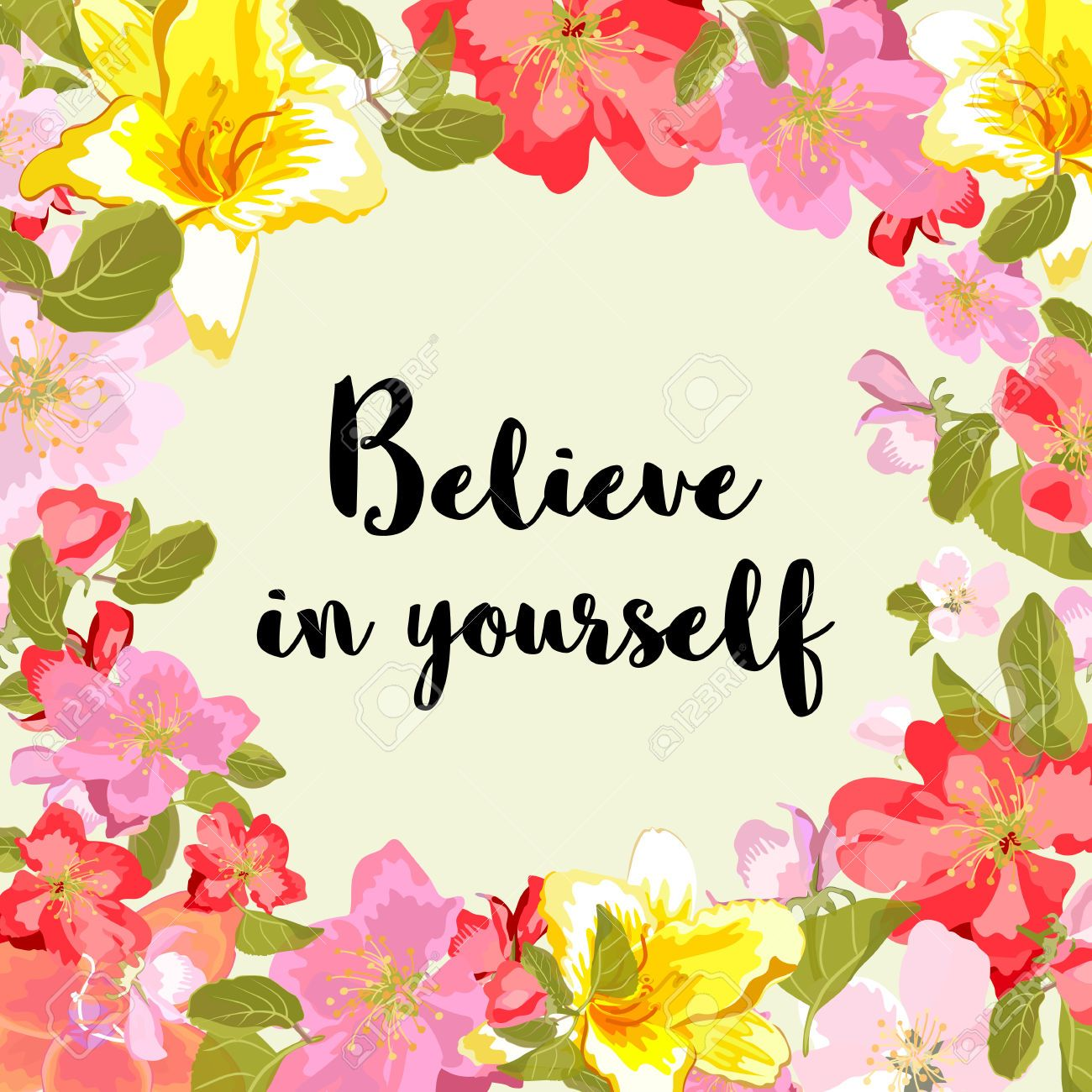 Floral Positive Motivational Quotes: 53864860-Believe-in-yourself-motivational-quote-typography