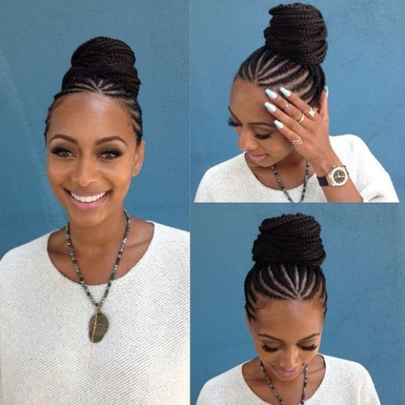 Updo Rolling Bun Cornrow Braids | Natural hair styles, Braids for black hair, Hair hacks