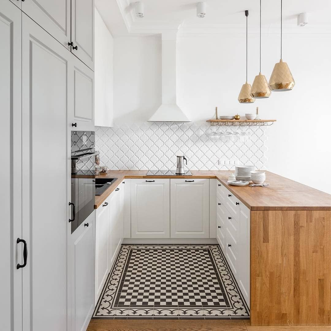 A Beautiful White Gray Kitchen With A Wooden Top Kitchen Design Cosy Kitchen Kitchen Remodel