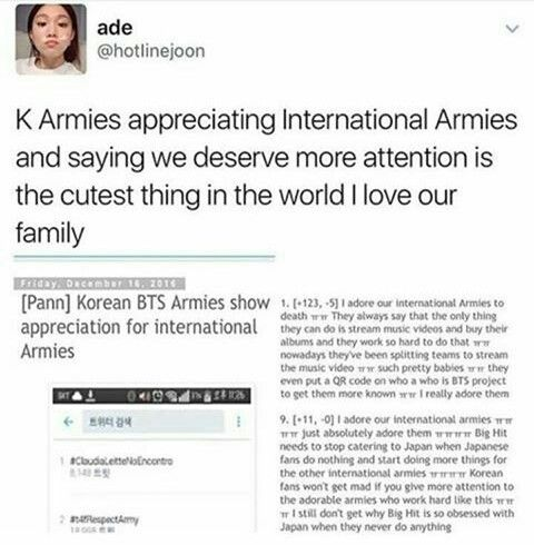 when K Armies show love and respect towards the international fans you know you picked the right fandom<<<< This is so true!! I am an international army and this makes me so happy >~<