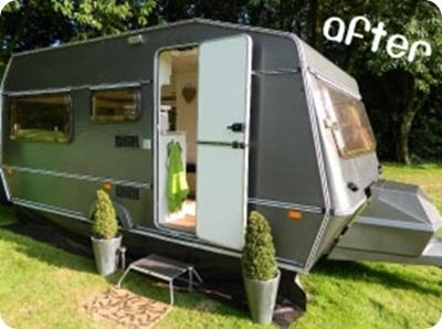 Caravan makeover! Painting the outside with exterior silver