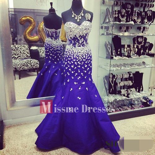 2014 l Blue Beads Prom Dresses Mermaid Long Formal Evening Pageant Gowns US $199.66