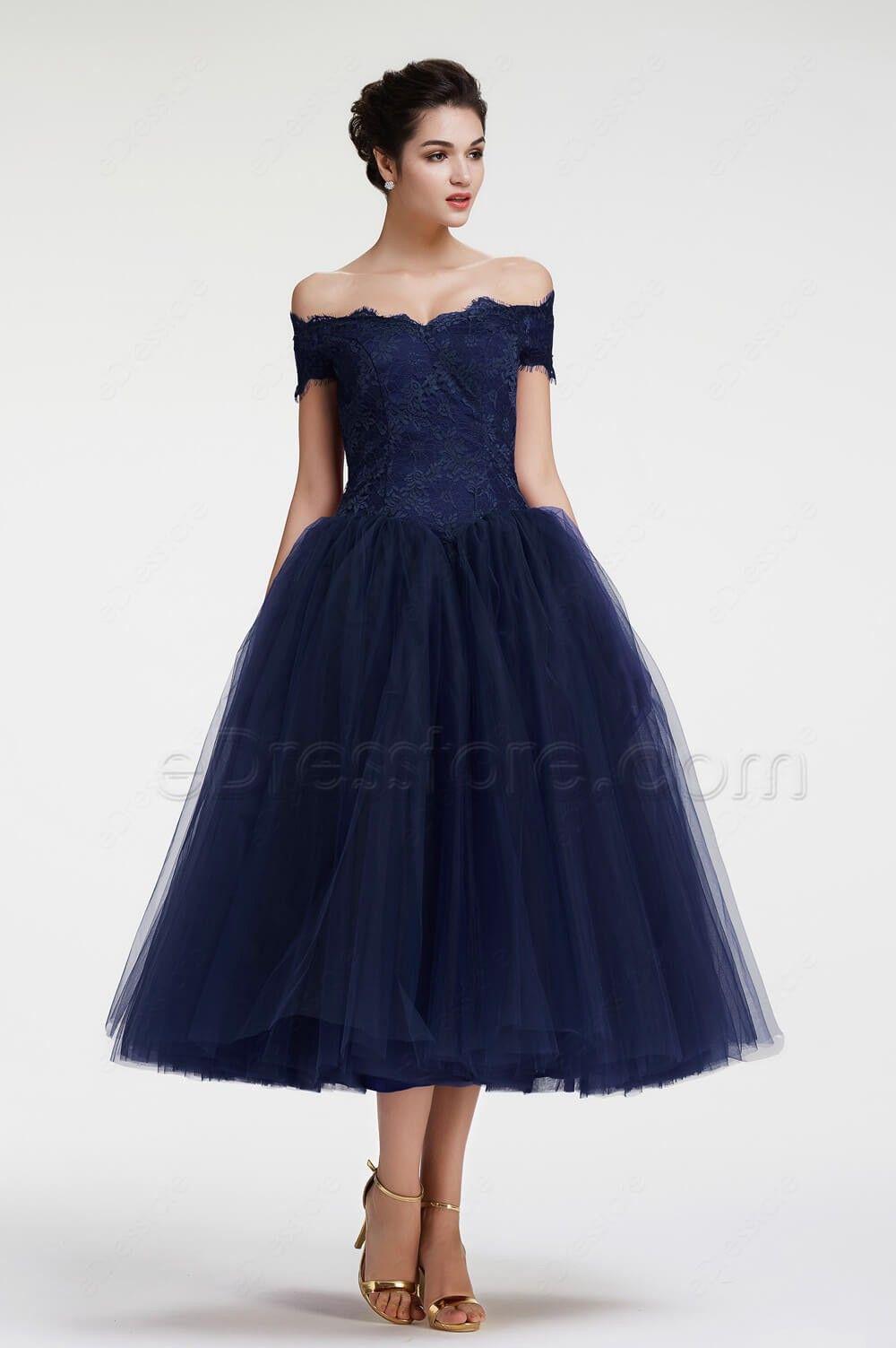 Navy blue off the shoulder ball gown vintage evening dress tea