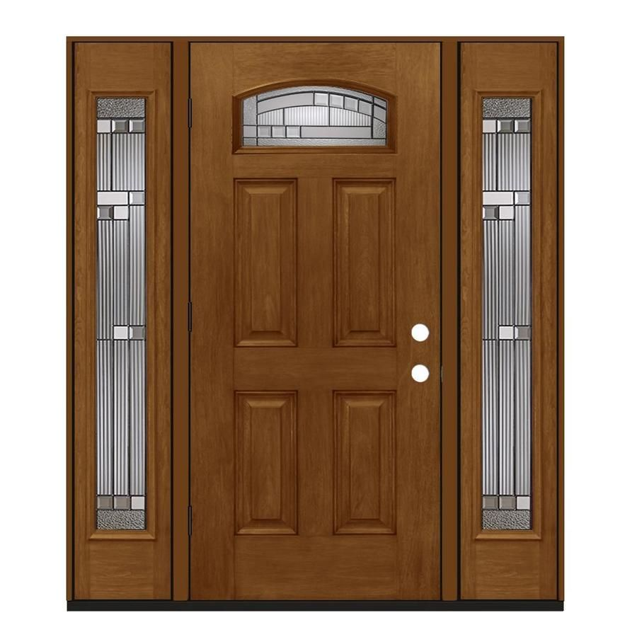 Jeld Wen 1 4 Lite Decorative Glass Right Hand Outswing Mocha Stained Fiberglass Prehung Entry Door With Sidelights With In 2020 Entry Door With Sidelights Entry Doors Exterior Entry Doors