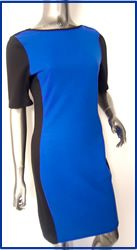 76352 Womens Black & Blue Wholesale Panel Dress