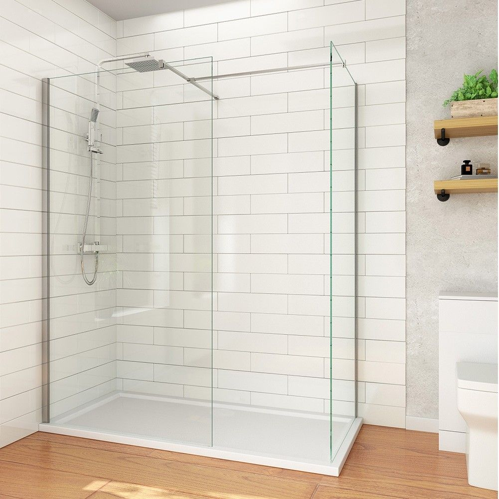 Elegant 1500x700mm Walk In Shower Enclosure Inc Shower Panels Stone Resin Tray Waste Small Shower Room Shower Cubicles Shower Enclosure