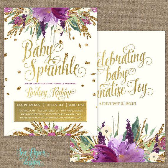 iris girl baby sprinkle invitation: amethyst purple, faux gold, Baby shower invitations