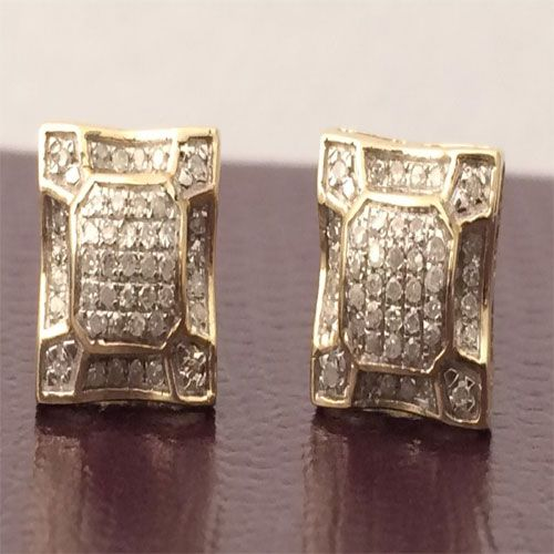 9ee4bff52 10K Yellow Gold Diamond Studs Concave Kite Pave Mens Ladies Earrings New  Girls by RG&D.....