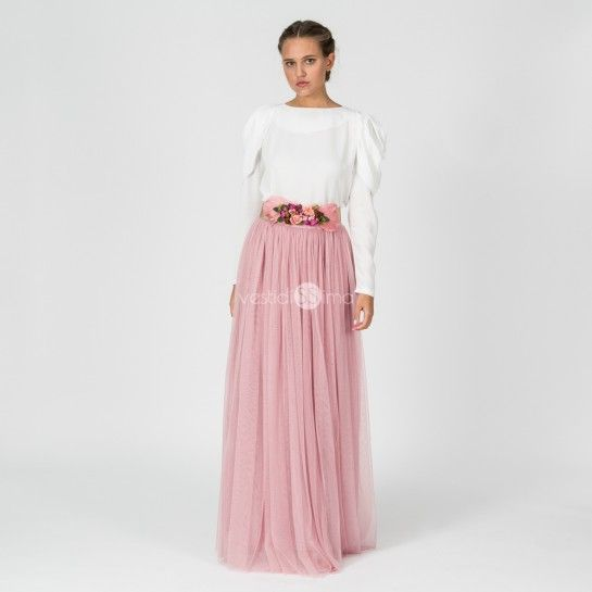 2046e81f0 Falda Tul Larga Rosa - ULTIMAS UNIDADES | outfits | Falda tul larga ...