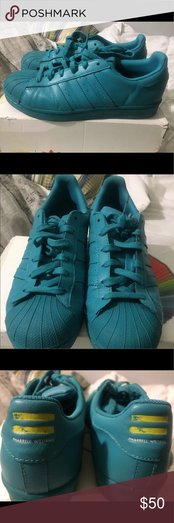 Pharrell Stan Smith Teal Pharrell Stan Smith. Condition 8/10 adidas Shoes Sneakers
