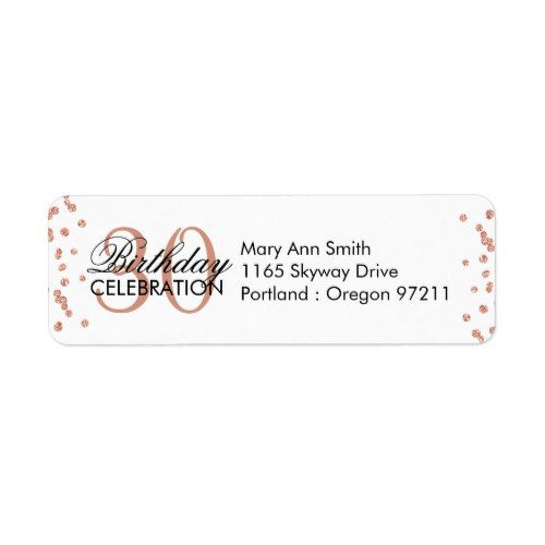 Rose Gold 30th Birthday Glitter Confetti Label